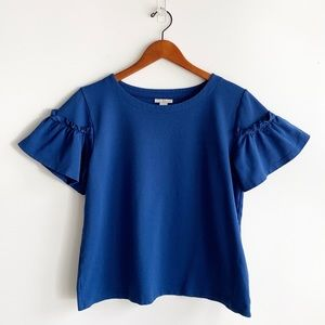 Halogen Blouse Ruffed Short Sleeve Blouse
